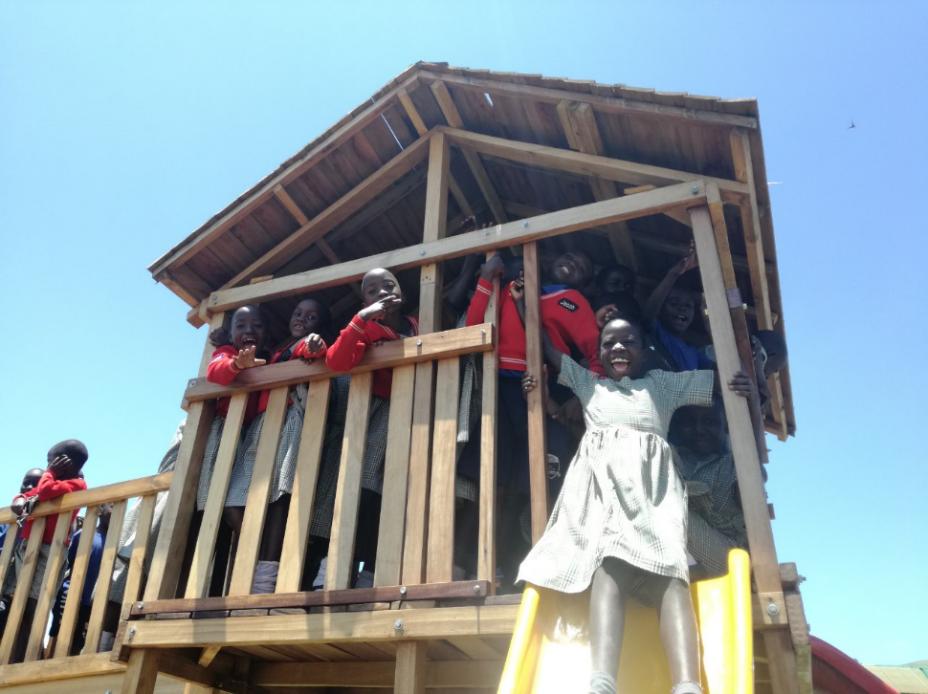 The children enjoying their new playground!